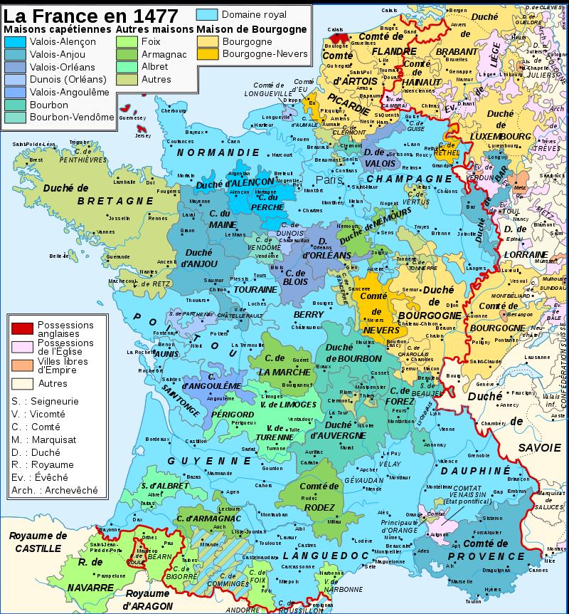 Carte figurant avec de nombreuses couleurs le découpage politique du royaume